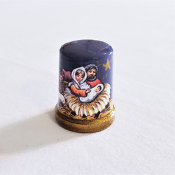 Fair Trade Lacquer Nativity Thimble from Russia