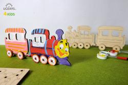 UGears paintable locomotive model kit for kids from Ukraine