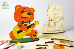 UGears paintable bear cub model kit for kids from Ukraine