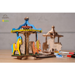 UGears paintable merry-go-round model kit for kids from Ukraine