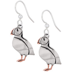 fair trade sterling and copper puffin dangle earrings from mexico
