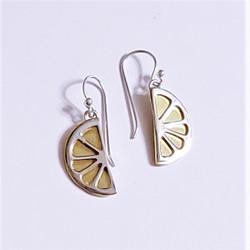 fair trade sterling and brass lemon slice dangle earrings from Mexico