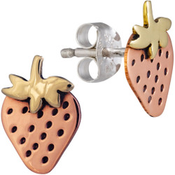 Fair trade copper and brass strawberry post earrings from Mexico