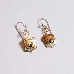 fair trade copper and alpaca silver cat reading book dangle earrings from Mexico