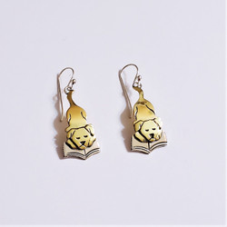 fair trade brass and alpaca silver dog reading book dangle earrings from Mexico