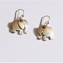 fair trade alpaca silver elephant dangle earrings from Mexico