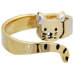 fair trade cat brass and sterling hugger wrap ring from Mexico