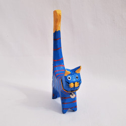 fair trade carved and painted albezia wood cat from bali