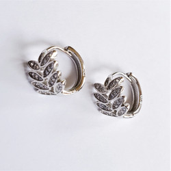 Fair Trade Sterling Silver and Crystal Leaf Earrings from China