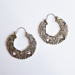 Fair trade Tibetan silver filigree hoop earrings from China
