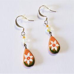 fair trade hand painted dangle flower earrings from Peru