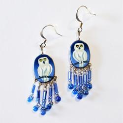 fair trade hand painted bird dangle earrings from Peru