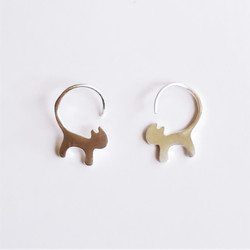 Fair trade sterling silver kitty cat hoop earrings from China