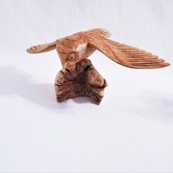 Fair trade carved parasite wood mouse on mushroom from Bali