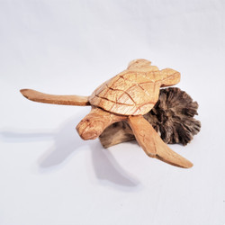 Fair trade carved parasite wood turtle from Bali