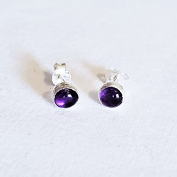 fair trade amethyst and sterling silver stud post earrings from Nepal
