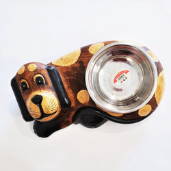 fair trade albezia wood cat food bowl and holder from Bali