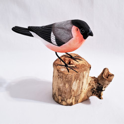 Fair trade painted albezia wood bullfinch bird sculpture from Bali