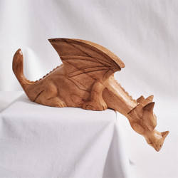 Fair trade carved albezia wood dragon from Bali