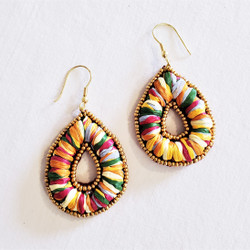 fair trade kantha recycled sari dangle earrings from India