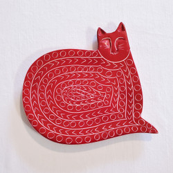 Fair trade carved soapstone cat plate from Kenya