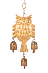 fair trade copper annealed owl chime from India