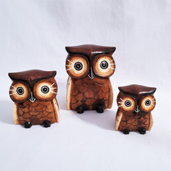 Fair trade carved albezia wood owl from Bali