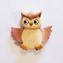 Fair trade wood owl refrigerator magnet