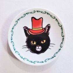 Fair trade cat mini plate with top hat from Japan
