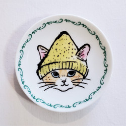Fair trade cat mini plate with knit hat from Japan