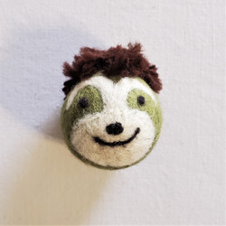 fair trade felted wool sloth cat toy from Kyrgyzstan
