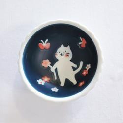 fair trade stoneware ceramic kitty cat bowl from Japan