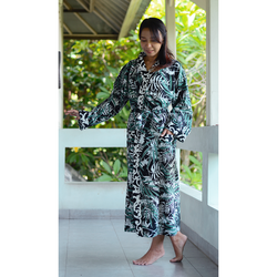 fair trade screen printed 100% cotton kimono robe from Bali, Indonesia