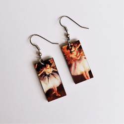 Fair trade Eucalyptus Wood Dangle Earring with Two Dancers on a Stage by Edgar Degas from Guatemala