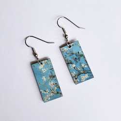 Fair Trade Eucalyptus Wood Dangle Earring with Almond Blossom by Vincent Van Gogh from Guatemala