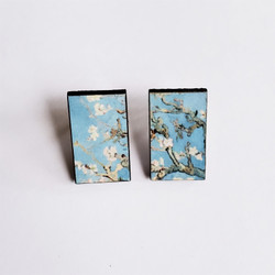 fair Trade Eucalyptus Wood Post Earring with Almond Blossom by Vincent Van Gogh from Guatemala