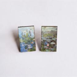 Fair Trade Eucalyptus Wood Post Earring with Water Lilies by Claude Monet from Guatemala