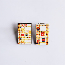 Eucalyptus Wood Post Earring with Broadway Boogie Woogie by Piet Mondrian from Guatemala