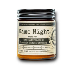 malicious women game night soy candle in a jar