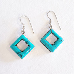 Fair Trade Turquoise and Sterling Silver Earrings from Nepal