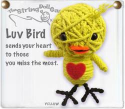 Luv Bird fair trade string doll keyring from Thailand