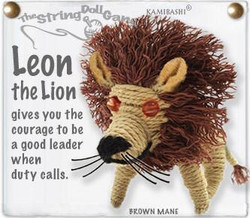 Leon the Lion fair trade string doll keyring from Thailand