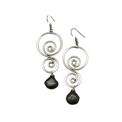 Fair trade jasper silver plated dangle earrings from India