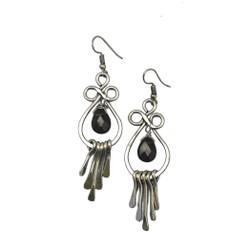 Fair trade smoky quartz silver dangle earrings from India