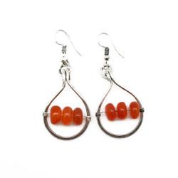 Fair trade carnelian silver dangle earrings from India