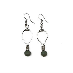 Fair trade aventurine silver dangle earrings from India