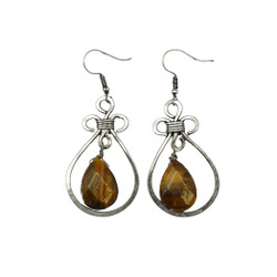 Fair trade tiger eye silver dangle earrings from India