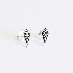 Fair trade sterling decorated point stud earrings from India