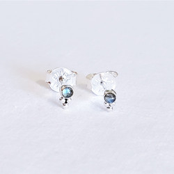 Fair trade sterling silver and labradorite mini stud earrings from India