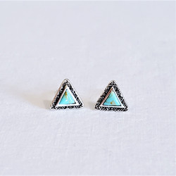 Fair trade sterling silver and turquoise triangular stud post earrings from India